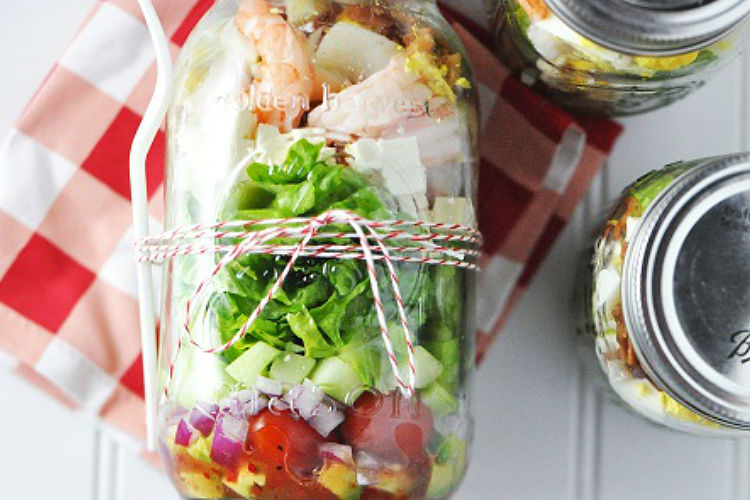 Shrimp and Feta Cobb Mason Jar Salad