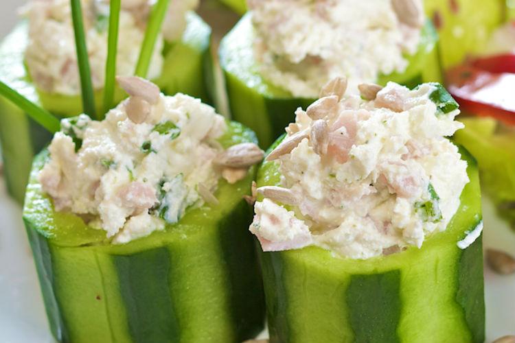 Thai Chicken Salad in Cucumber Cups